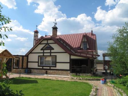 загородный дом, усадьба, коттедж, дом из блоков