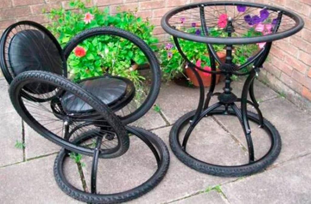 поделки из велосипедных колес, поделки для дачи