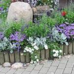 Бордюры, клумба, газон, цветник, трава, кирпич, пластиковый
