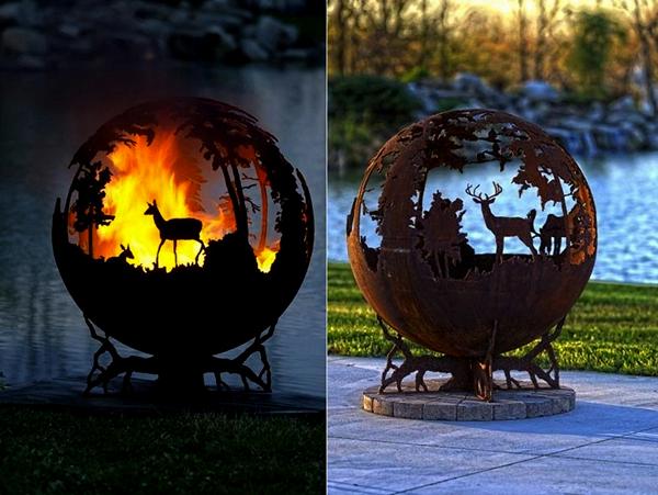 круглый мангал, мангалы,барбекю, дачный дизайн ландшафтный дизайн фото оригинальное украшение дачного участка необычное украшение для дачного участка огненные чаши Up North