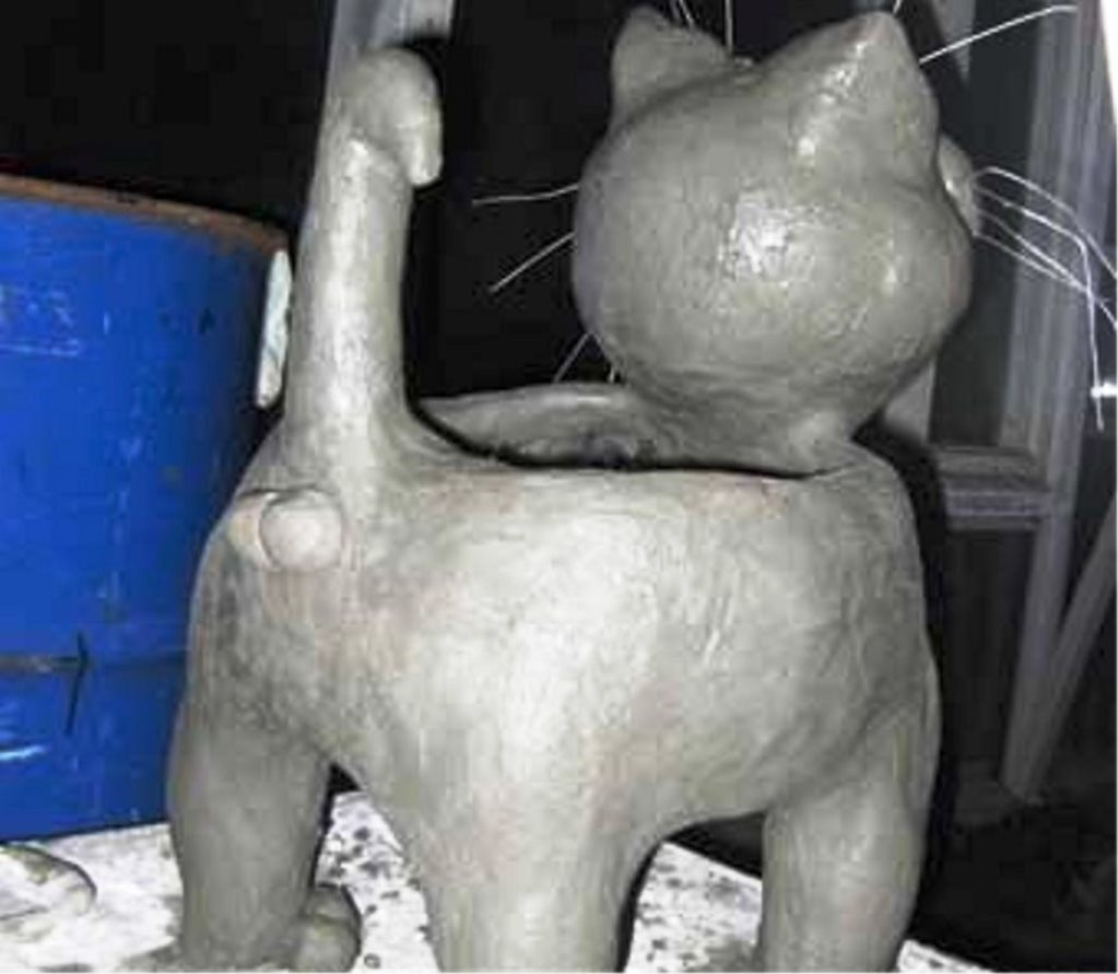 кот-цветник, как_сделать_кота_из_цемента, поделки_для_дачи